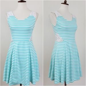 Poof Couture Striped Fit & Flare Dress